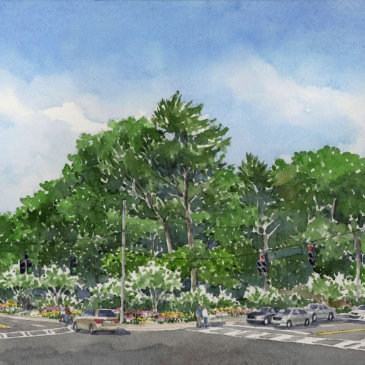 A rendering of the green corner by the landscape architecture firm TSW